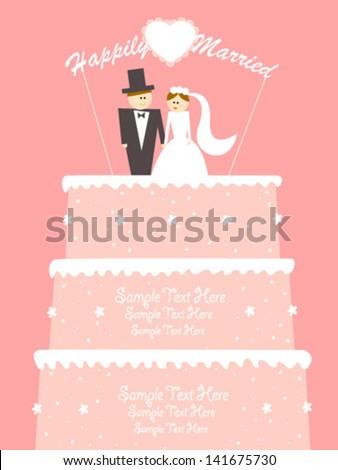happy couple on pink wedding cake - stock vector