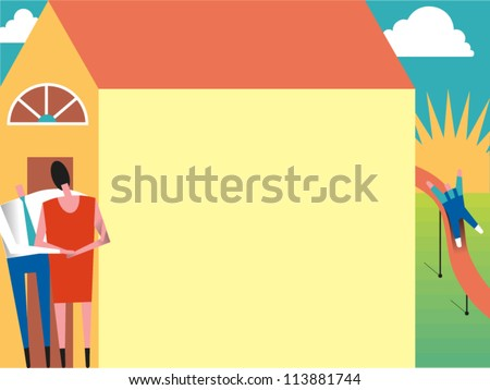 Happy couple outside their home while their child plays on a slide in the back yard with a sunburst in the background and puffy clouds in the sky - stock vector