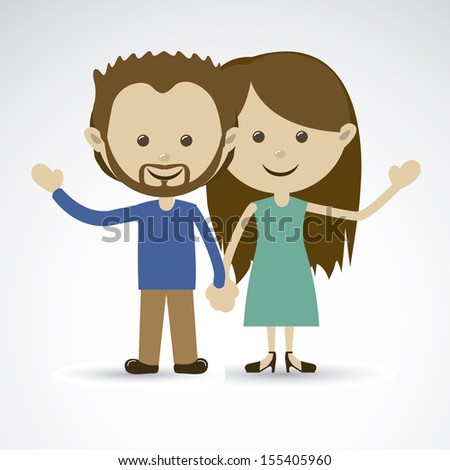 happy couple over gray background vector illustration