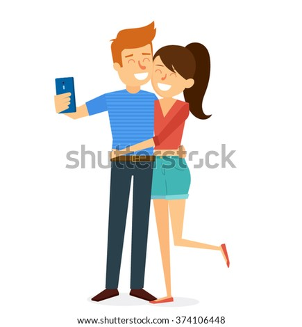 Happy Couple Valentines day Character design. Vector illustration - stock vector