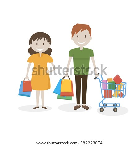 Happy couple with shopping bags and basket in hand / Isolated on white background/ Flat characters /Vector illustration