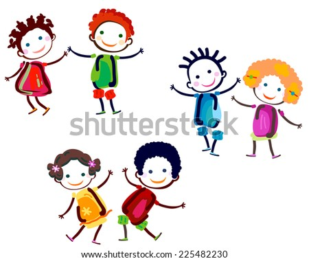 happy couples with cute girls and boys - stock vector