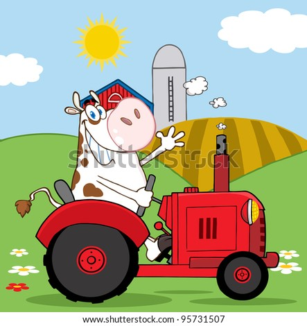 Happy Cow Farmer In Red Tractor Waving A Greeting On His Farm.Vector Illustration - stock vector