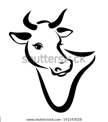 happy cow portrait, isolated vector silhouette in simple black lines
