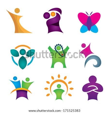 Happy creative & abstract people logo icon set for human success in reach for star