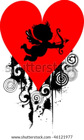 Happy Cupid with bow and arrow - vector illustration; - stock vector