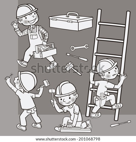 Happy Cute Boy builder working in construction.  Monochrome.  Children illustration for School books, magazines, advertising and more. Separate Objects. VECTOR. - stock vector