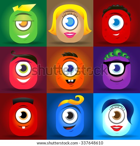 Happy cute cartoon monster faces vector set. cute square avatars and icons. - stock vector