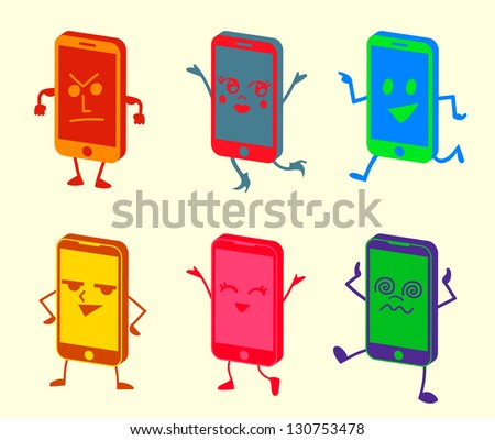 Happy Cute Kawaii Smartphone Characters - stock vector