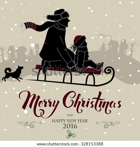 Happy dad and daughter on sledge, vintage Merry Christmas card - stock vector