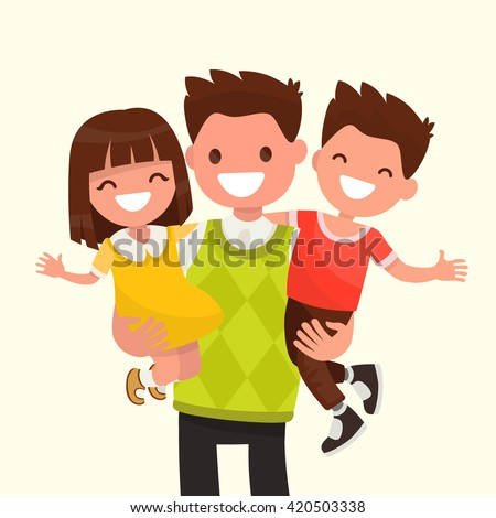 Happy Dad holding his son and daughter. Vector illustration of a flat design. - stock vector