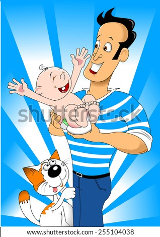 Happy dad is holding her child, vector and illustration - stock vector