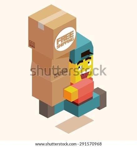 happy delivery boy. vector illustration - stock vector