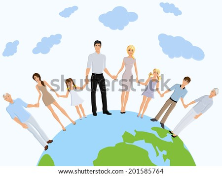 Happy different generation family portrait on earth background vector illustration - stock vector
