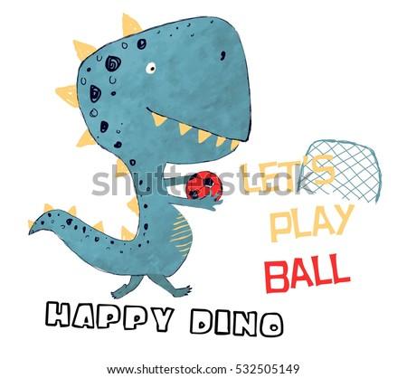 Happy Dinosaur Ball Player Vector Illustration Tshirt ...