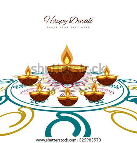 Happy diwali beautiful card rangoli colorful whit background - stock vector