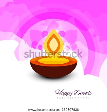 Happy Diwali beautiful card vector design - stock vector