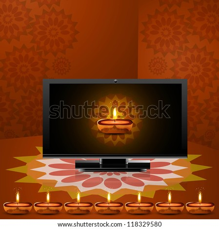 Happy diwali beautiful led tv screen celebration colorful background vector - stock vector