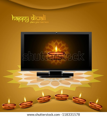 Happy diwali beautiful led tv screen celebration shiny colorful background - stock vector
