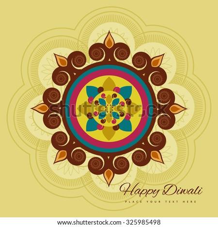Happy diwali colorful rangoli for diya celebration decorative card vector - stock vector