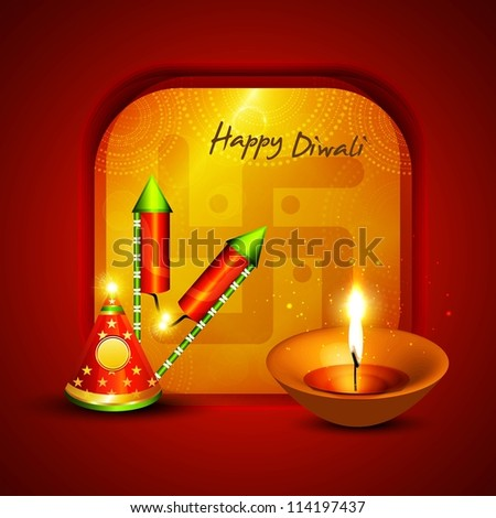 Happy diwali crackers hindu festival bright colorful vector background