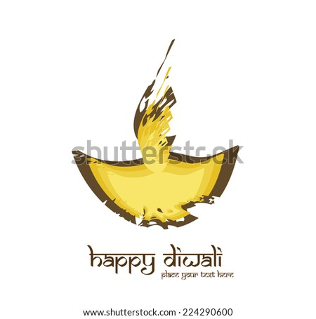 Happy diwali diya artistic colorful grunge creative vector illustration - stock vector