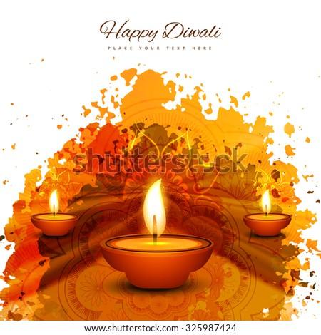 Happy Diwali diya card artistic color grunge background - stock vector