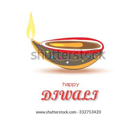 Happy Diwali diya card design. Vector illustration - stock vector