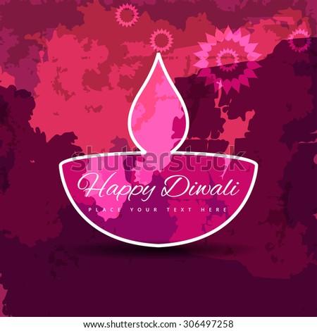 Happy Diwali diya colorful grunge beautiful illustration background - stock vector