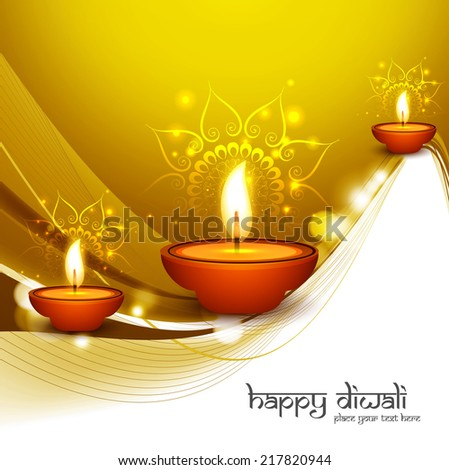 Happy diwali diya colorful stylish wave hindu festival background vector - stock vector