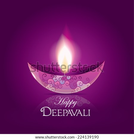 happy Diwali festival diya- purple lighted oil lamp decoration isolated on purple background - stock vector