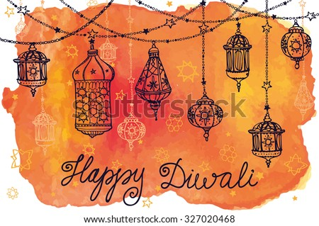 Happy Diwali festival.Traditional hanging lamp.Doodle,Watercolor splash.Greeting card.Hand drawing decor.Vector background.Indian religion holiday Holy diya Shubh Deepawali.Horizontal Illustration - stock vector