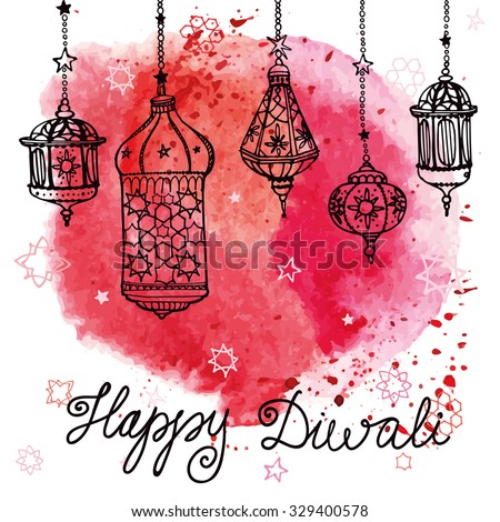 Happy Diwali festival. Traditional hanging lamp in Doodle style. Greeting card with Watercolor red splash. Hand drawing background. Indian religion holiday Holy diya Shubh Deepawali. Vector Illustration