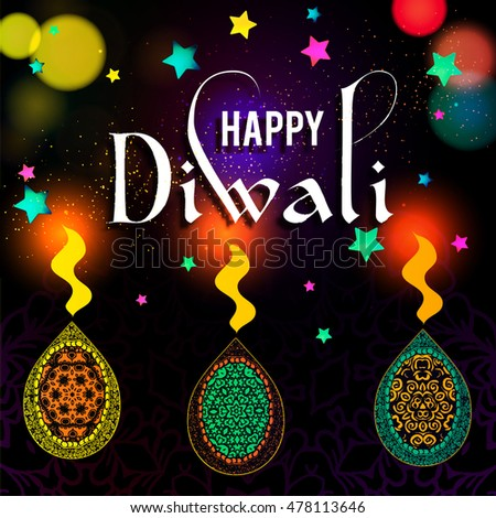 Happy diwali greeting card design beautiful stock vector hd royalty happy diwali greeting card design beautiful glowing typographic background can be used as poster m4hsunfo