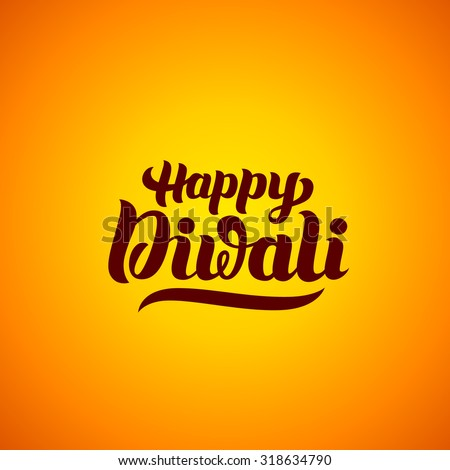 Happy Diwali hand-lettering. Indian Holiday. Festival greeting card. Handmade vector calligraphy background - stock vector