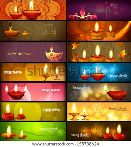 Happy diwali stylish bright colorful collection headers set of vector  - stock vector