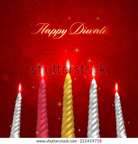 Happy Diwali Vector Design. Set of Burning Wax Candles.