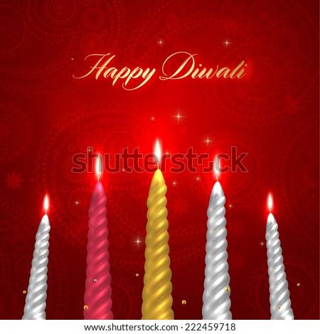 Happy Diwali Vector Design. Set of Burning Wax Candles.  - stock vector