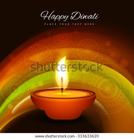 Happy Diwali with colorful elegant card design of traditional Indian festival design - stock vector