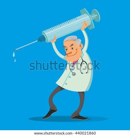Happy doctor holding big syringe on blue background - stock vector