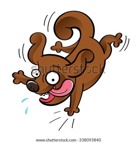 Happy dog - jumping funny cartoon animal  - stock vector