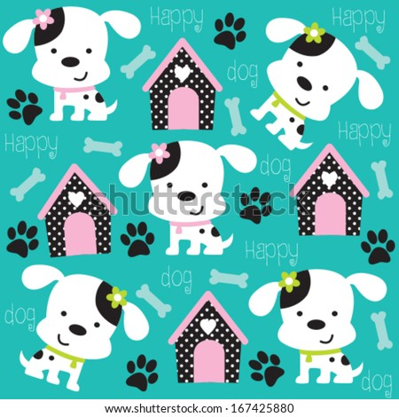 happy dog pattern with paw print and bone vector illustration - stock vector