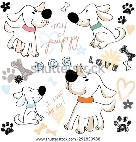 Happy Dog Puppy Friend Love Paw Bone Flower Texture Pastel Heart Vector Illustration - stock vector