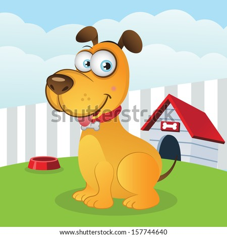 Happy Dog with Kennel (VECTOR) - stock vector