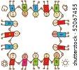 Happy doodle children holding hands - stock vector