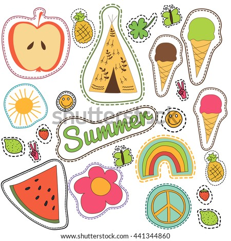 Happy doodle embroidery colorful summer patches collection. Hand drawn vector set illustration of wigwam, rainbow, pineapple, sun for stickers, magnets, greeting card decoration, pin badges isolated.