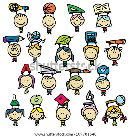 Happy doodle kids go back to school - stock vector