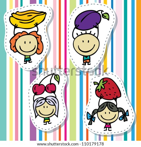 Happy doodle kids with fresh fruits