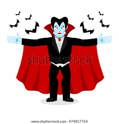 Happy Dracula in red mantle. Good cheerful vampire. ghoul and bats