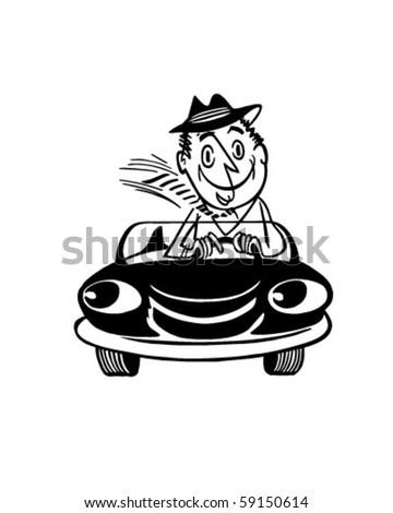 Happy Driver 3 - Retro Clip Art - stock vector
